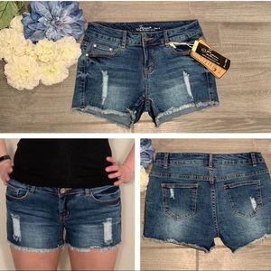 Pants - Medium Blue Mid-Rise Shorts